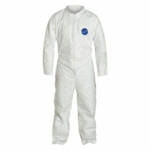 DUPONT Collared Disposable Coveralls with Open Cuff, Tyvek® 400 Material, White, XL
