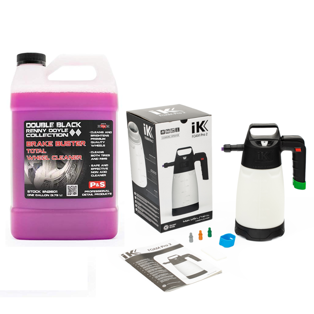 P&S Brake Buster Safe and Ik Foam Pro 2 Pump Sprayer Wheel Cleaning Kit P&S Brake Buster Non Acid Wheel Cleaner helps you safely and easily clean your wheels. You will be amazed at how quickly this product removes brake dust, road grime, light grease, and dirt from clear coated, factory painted, chrome and other delicate wheel surfaces. Simply spray the wheel down with cool water, spray the Brake Buster onto the surface, and rinse it off, it is that easy! The unique gel formula clings to the surface, breaking down contamination for safe removal. For heavily contaminated wheels allow the product to dwell for and agitate with a wheel brush. Once you are finished you will not only be left with a clean wheel, but a protected one as well. Brake Buster contains corrosion inhibitors that deposit a thin layer of protection on the wheel to protect from future corrosion. IK Foam Pro 2 Sprayer allows you to apply a thick layer of cleaning foam with ease. This high-quality bottle will allow you to apply a nice layer of foam to your vehicle to help you pre-treat the surface and remove dirt and grime safely. Add your shampoo or APC and water to the reservoir, screw on the top, pump up the pressure and apply by pushing the thumb trigger at the top of the handle. You will instantly have a layer of foam will stick to the paint, allowing the shampoo to help loosen contamination. KIT INCLUDES P&S Brake Buster (128oz) Ik Foam Pro 2 Sprayer (50oz)