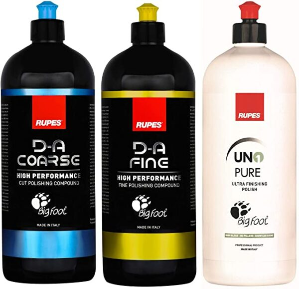 Rupes New DA System Combo Kit | 3 Bottles-1 Liter | Polish & Compound